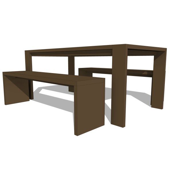 Gus modern plank table bench  revit