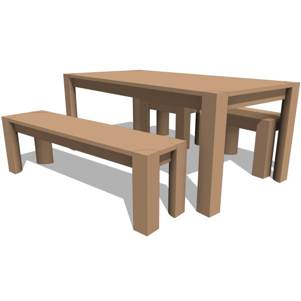Pch series bench dining table  revit