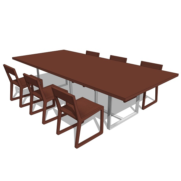 Rotsen wood steel dining table  revit